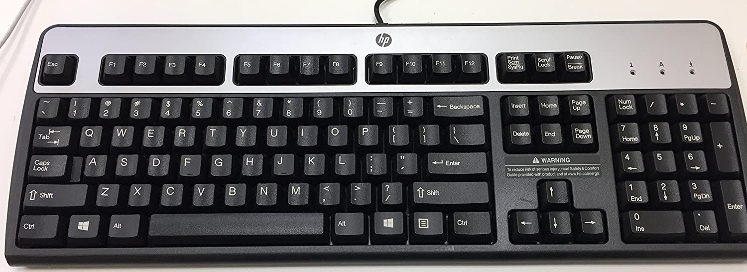 HP 435302-001 KB-0316 104 Key Black Silver PS2 Keyboard