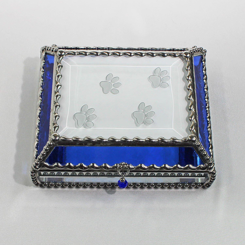 Paw Prints Stained Glass Jewelry Box, Presentation Box, Keepsake Box, Glass Jewels, Swarovski Crystals, USA Made