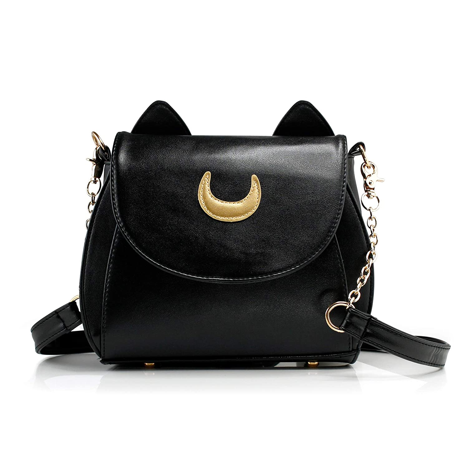 Oct17 Moon Luna Purse Kitty Cat satchel shoulder Bag Designer Women Handbag Tote PU Leather Sailor School