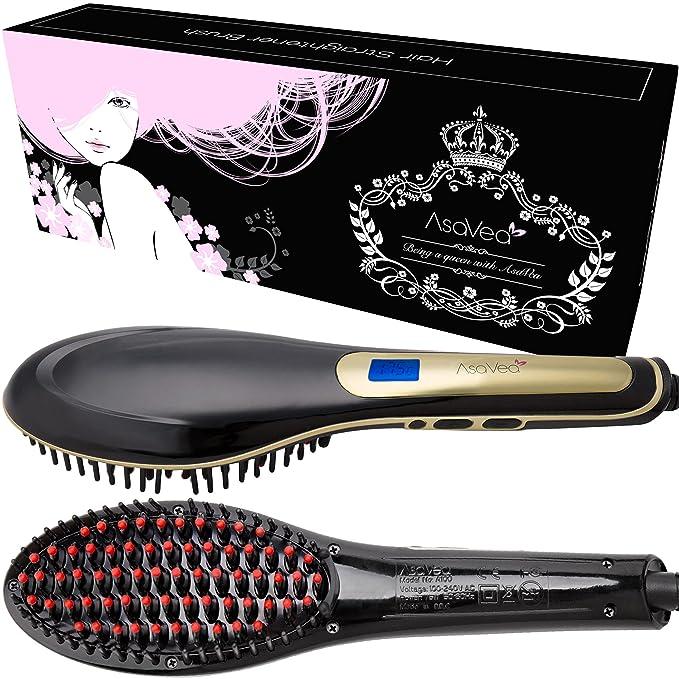 Cepillo alisador de pelo - AsaVea cepillo alisador de cabello - #1 el desenredante de cerámica caliente más seguro y rápido , con un diseño patentado ...