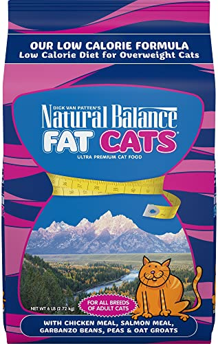 Natural Balance Fat Cats Low Calorie Dry Cat Food, Chicken Meal, Salmon Meal, Garbanzo Beans, Peas Oat Groats, for Overweight Cats