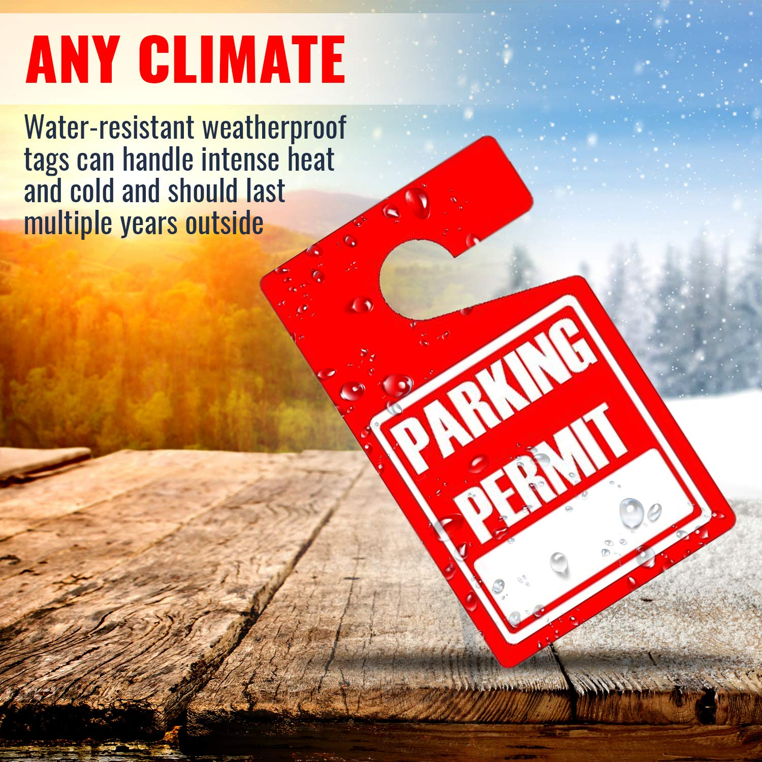 MESS Parking Permit Hang Tags (Red) - 50 Tough Thick Re-Usable Weatherproof Passes for Car Or Vehicle Rear View Mirror/Perfect for Employees, Residents, Tenants and More - 3'' x 5''