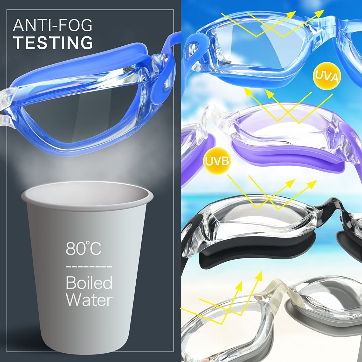 COOLOO Swim Goggles, Pack of 2, Swimming Goggles for Adult Men Women Youth Kids Child, Triathlon Equipment, with Mirrored & Clear Anti-Fog, Waterproof, UV 400 Protection Lenses, Made : Sports & Outdoors