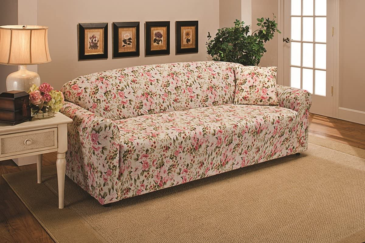 Madison JER-Sofa-FL Stretch Jersey Sofa Slipcover, Solid, Pink