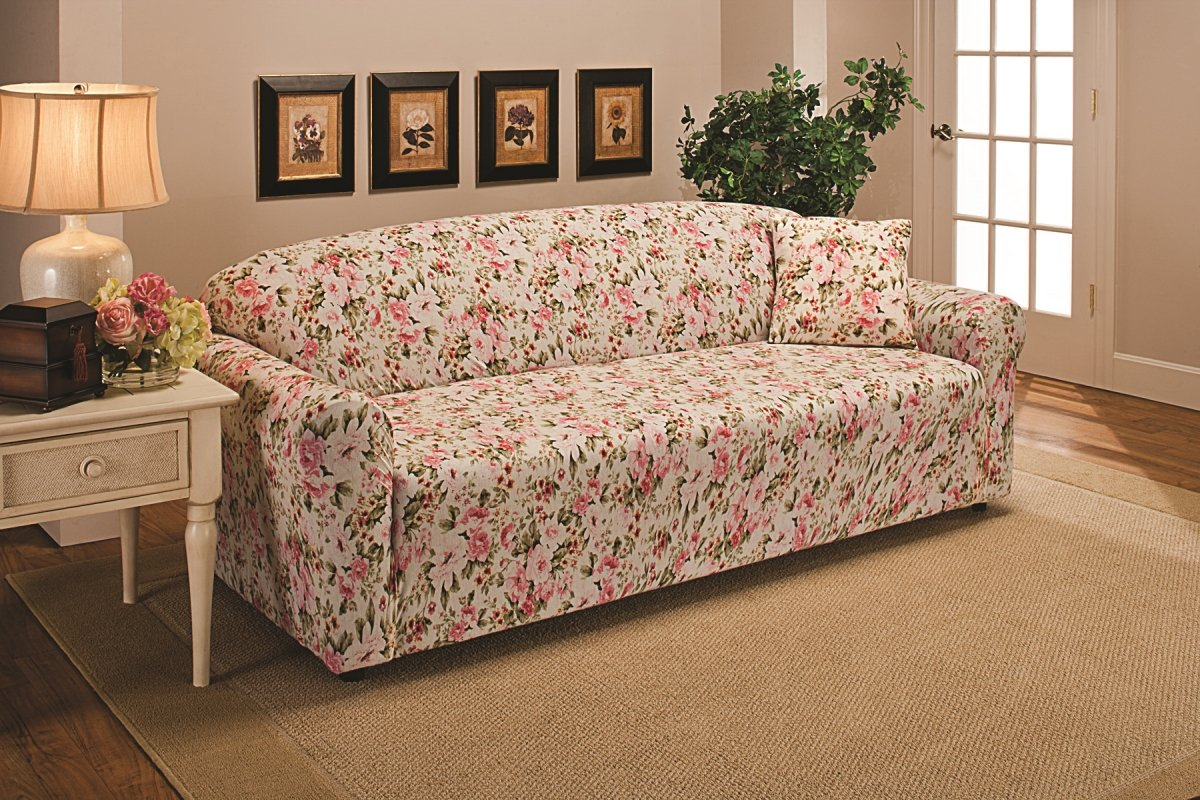 us home MBPT0 Madison JER-Sofa-FL Stretch Jersey Sofa Slipcover Solid Pink MADISON INDUSTRIES INC