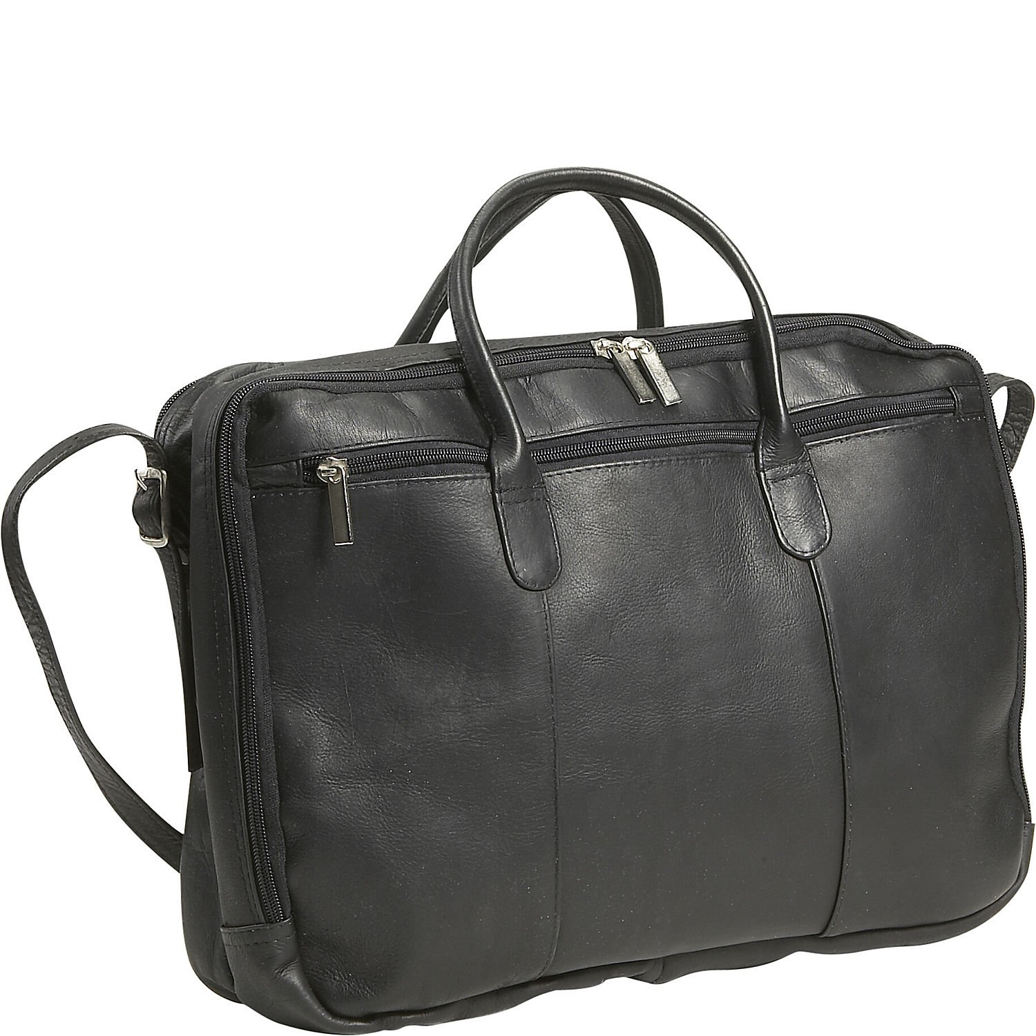 David King Leather Double Top Zip Briefcase in Black