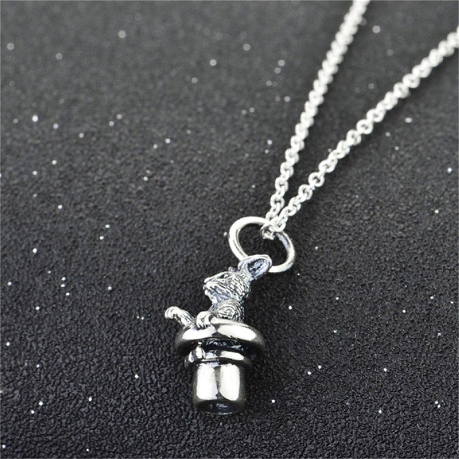 CS-DB Pendants Necklaces Silver Vintage Jewelrying Mouse Style Jewelry Girls