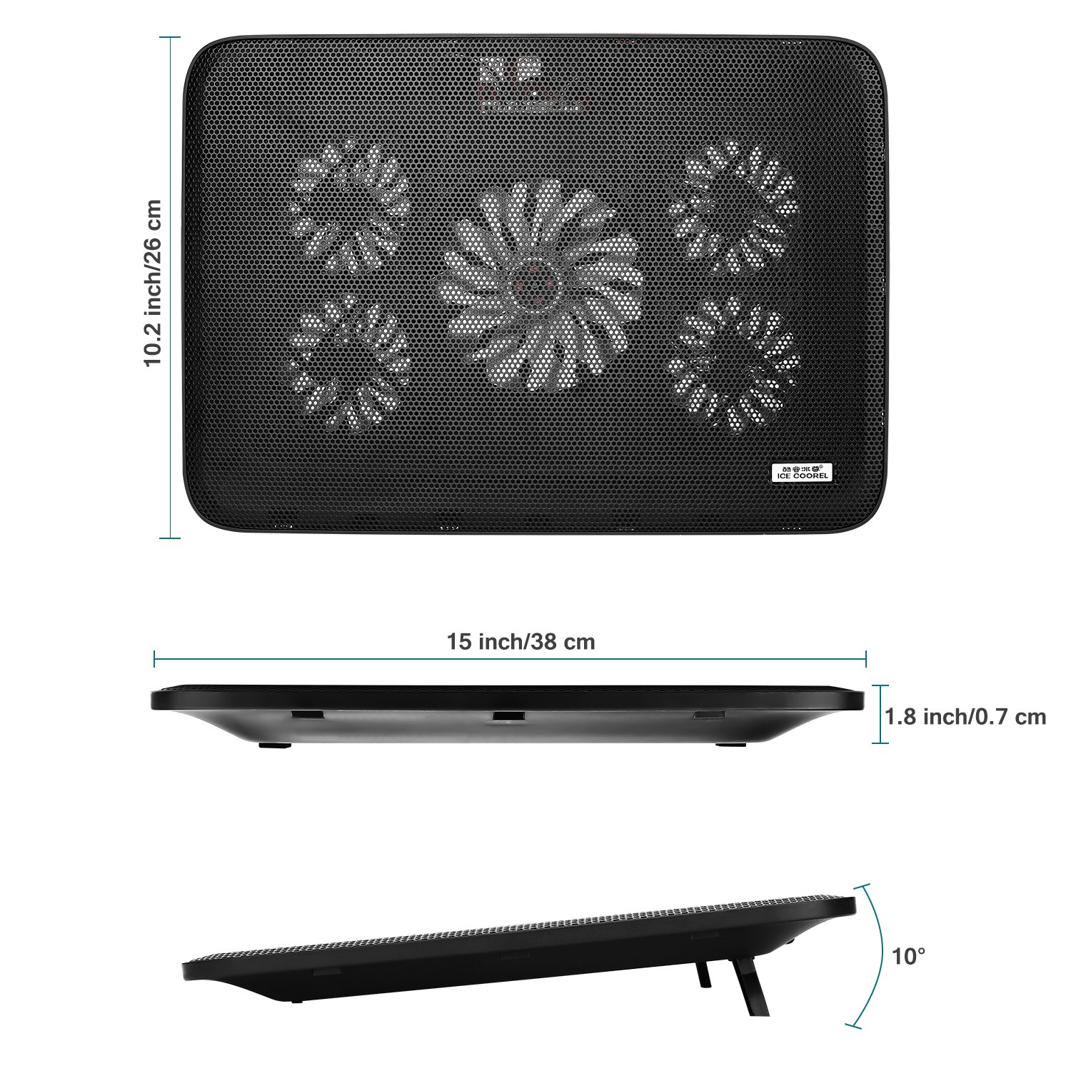 NO.17 Laptop Cooler Cooling pad, Portable Ultra-Slim Quiet Laptop Cooling Pad with 5 USB Powered Fans, Fits 10-15.6 inches by NO.17 (Image #2)