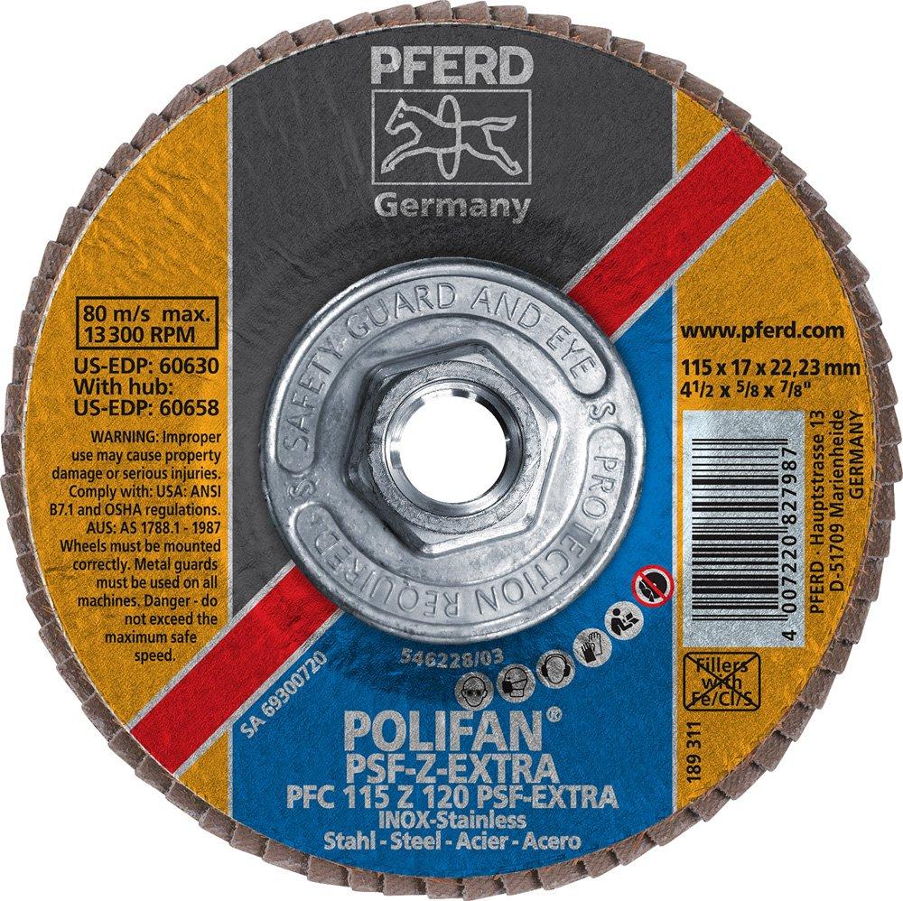 5//8-11 Thread Zirconia Alumina 4-1//2 Diameter 120 Grit 4-1//2 Diameter PFERD Inc. PFERD 60658 Polifan PSF Z-Extra Type 29 Conical Flap Disc 13300 RPM