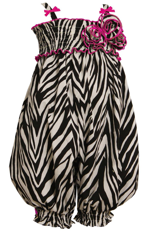 Little Girls 2T-6X Black/White/Pink Zebra Animal-Print Smocked Romper (6, Fuchsia)