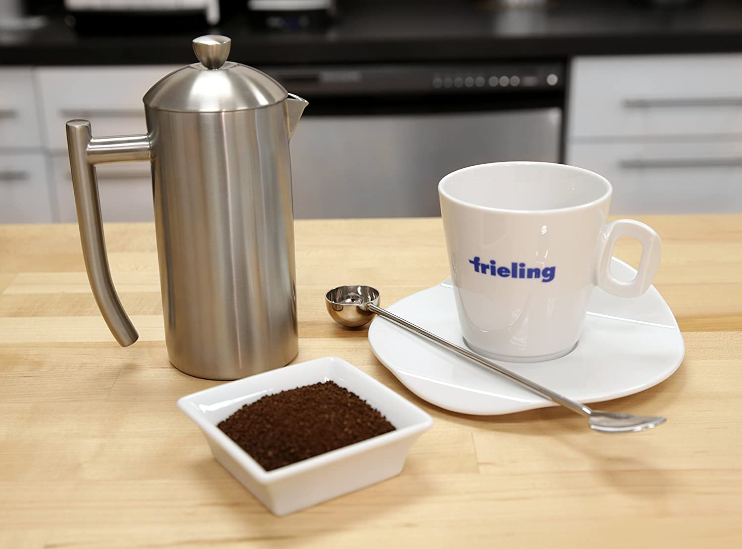 Frieling USA Double Wall Stainless Steel French Press Coffee Maker with Zero Sediment Dual Screen, Polished, 8-Ounce