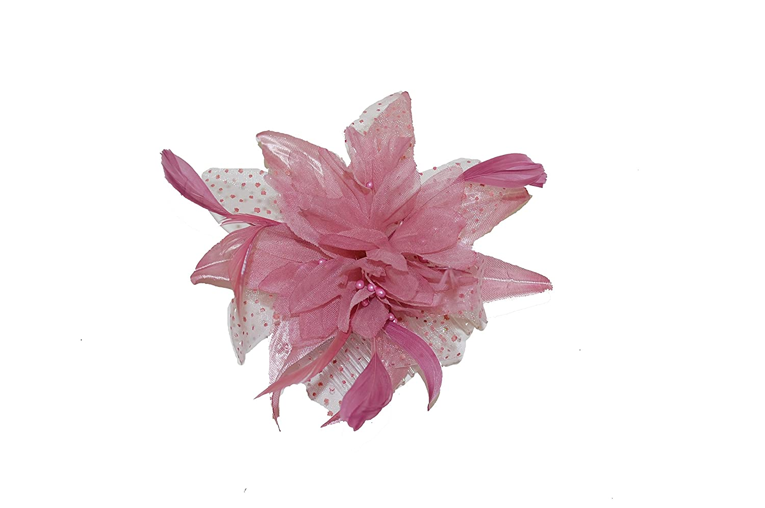 Pretty Cool Dusky Pink Flower Feather Comb Fascinator Amazon