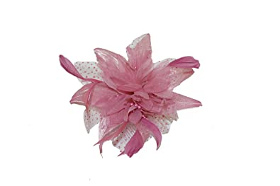 Pink flower fascinator with chiffon flower and feather detail pink flower fascinator with chiffon flower and feather detail mightylinksfo