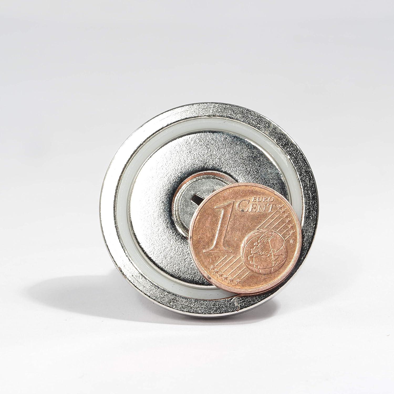 20 mm - 10 KG M5 Neodym Magnet M6 Gewinde /Öse /Ösenmagnet Bergemagnet Topfmagnet 10 bis 70 KG Zugkraft Flachgreifer mit Ringmutter