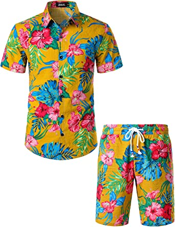 JOGAL - Conjunto de camisa Hawaii de manga corta para hombre: Amazon.es: Ropa y accesorios