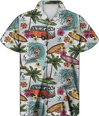 Camisa de Manga Corta para Hombre y niño, Manga Corta, diseño Hawaiano, Manga Corta, con Botones en la Parte Delantera: Amazon.es: Ropa y accesorios