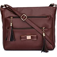 GLOSSY Urban Fad Girl's PU Sling Bag with 5 Zip Compartments (Brown)