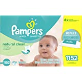 Pampers Baby Wipes, Natural Clean UNSCENTED 16X Refill Packs, 1152 Count (Packaging May Vary)