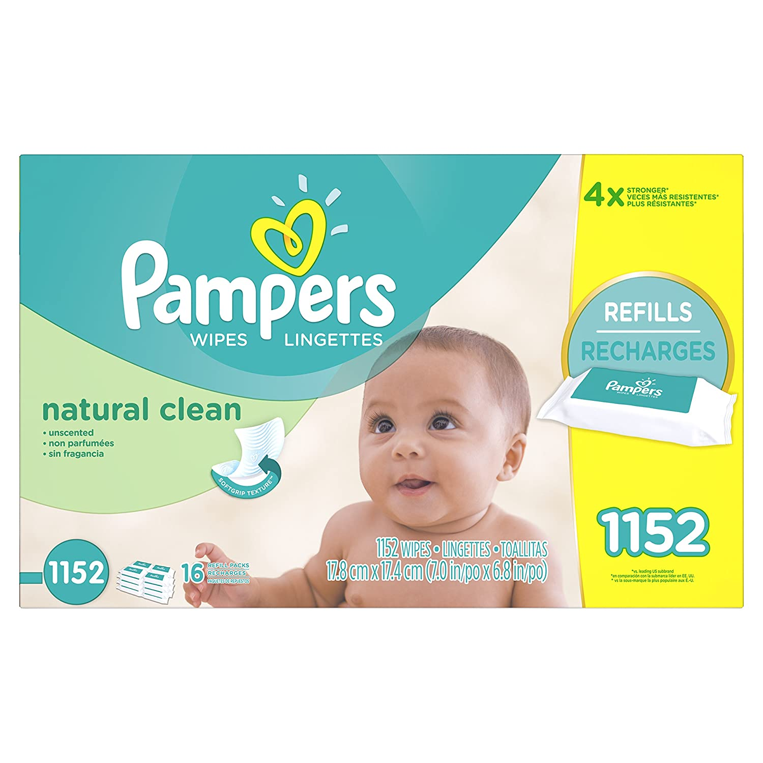 Pampers Baby Wipes, Natural Clean UNSCENTED 16X Refill Packs, 1152 Count (Packaging May Vary) Procter and Gamble