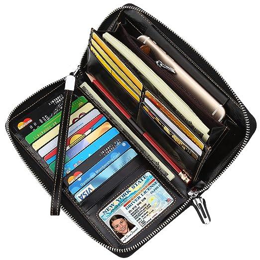 4707fa81cd03 Lavemi Women's RFID Blocking Real Leather Zip Around Wallet Clutch Large  Travel Purse Wristlet