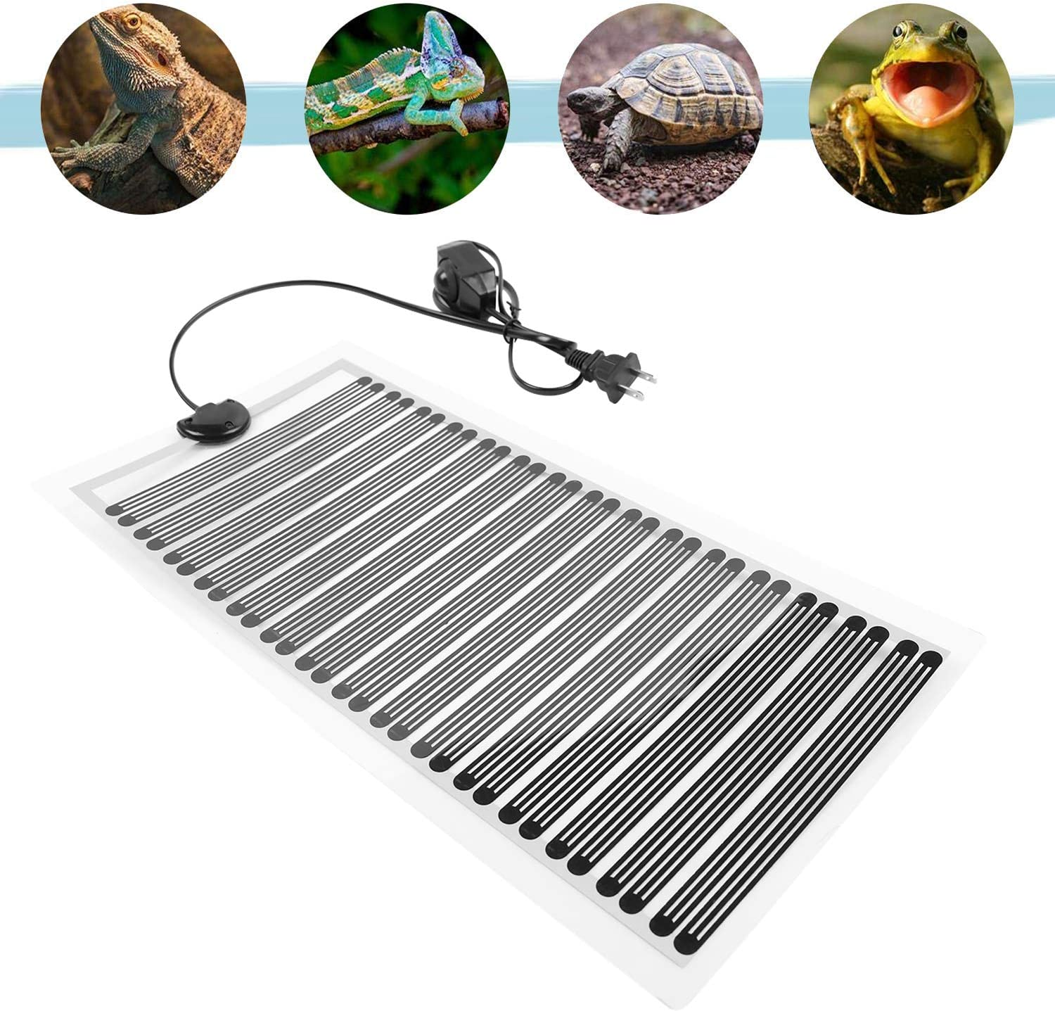 Fashionclubs Reptile Heat Pad Under Tank Heating Mat, 110V 25W Reptile Tank Warmer Terrarium Heater Mat with Temperature Controller Leopard Gecko Heating Pad