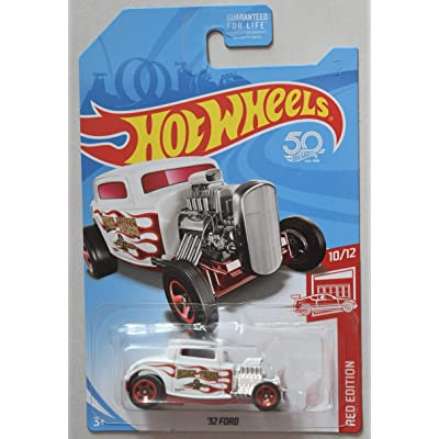 Hot Wheels RED Edition 10/12, White with RED Flames '32 Ford 50TH Anniversary Card: Toys & Games