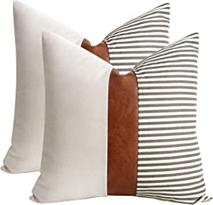 cygnus Set of 2 Farmhouse Decor Stripe Patchwork Linen Throw Pillow Covers,Modern Tan Faux Leather Accent Pillow Covers 18x18 inch,Gray