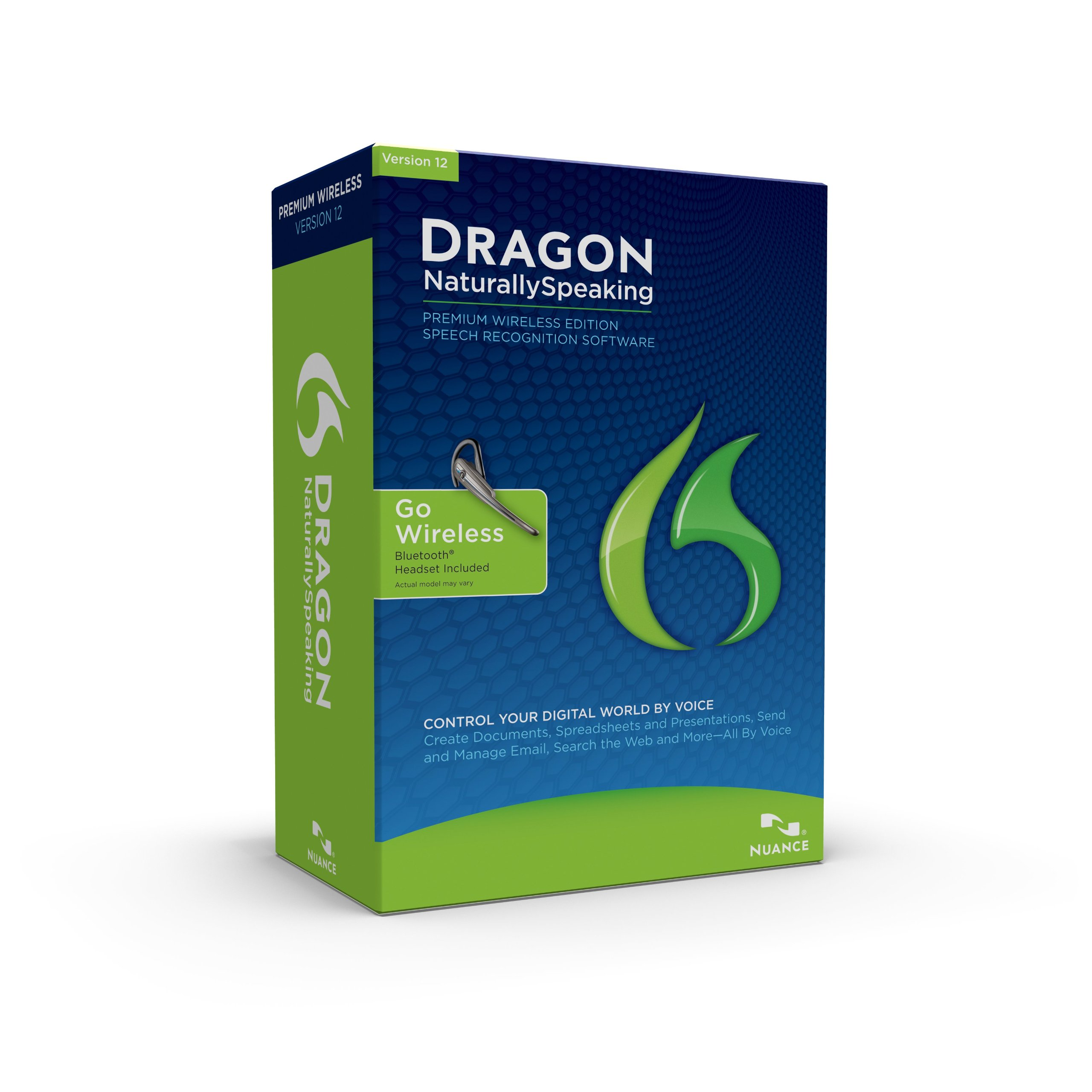 Dragon NaturallySpeaking Premium 12 Bluetooth (Wireless), English (Old Version) by Nuance Dragon