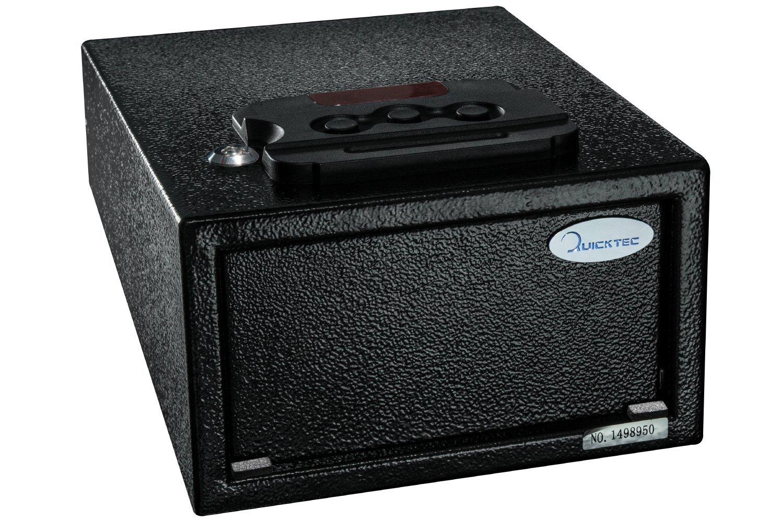 Quicktec Quick Access Pistol Safe Handgun Safe Electronic Pistol Security Box with Pop-Open Door and 2 Emergency Keys