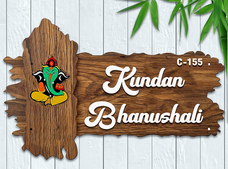 Buy Karigaari India Wooden Name Plate I Customized Name