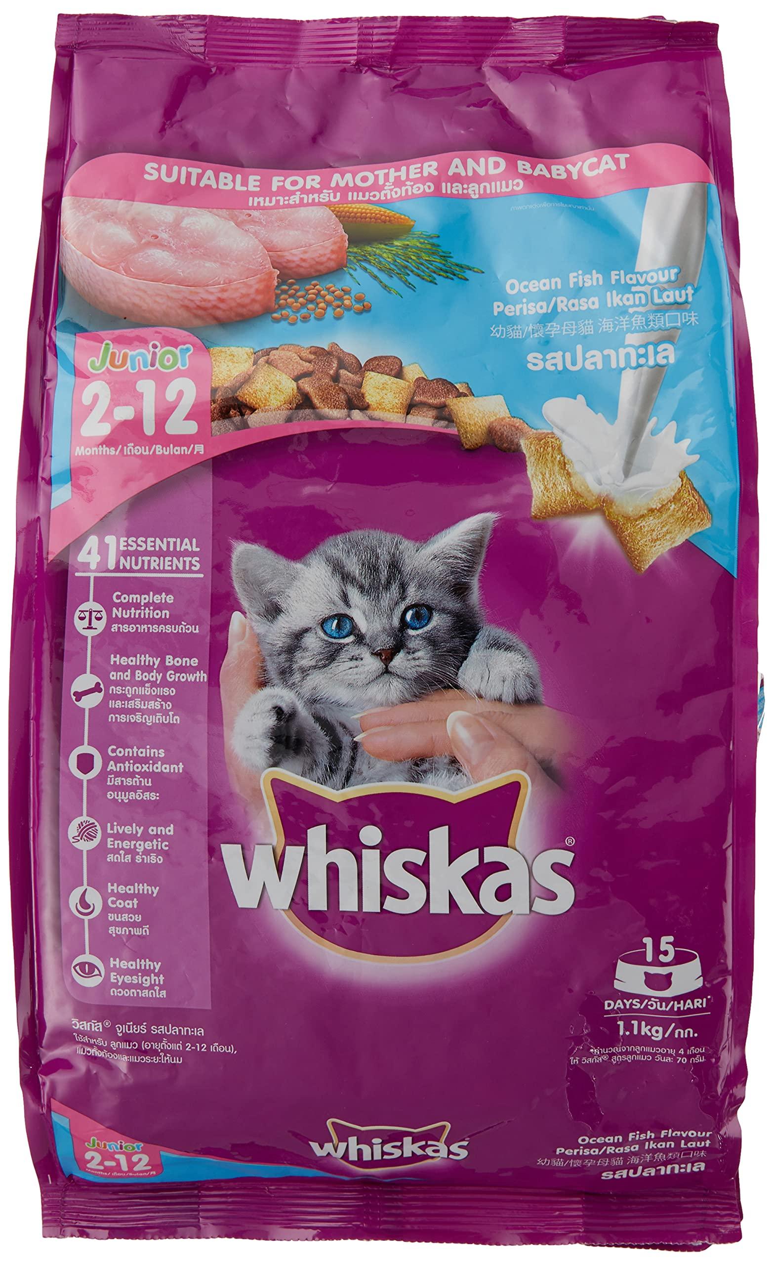 Whiskas Kitten (2-12 months) Dry Cat Food , Ocean Fish, 1.1kg Pack