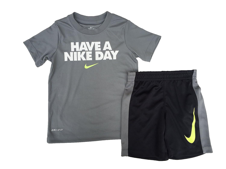 Cool Grey 86D622-478 NIKE Toddler Boys Dri Fit Short Sleeve T-Shirt and Short 2 Piece Set //Volt//White, 12 Months
