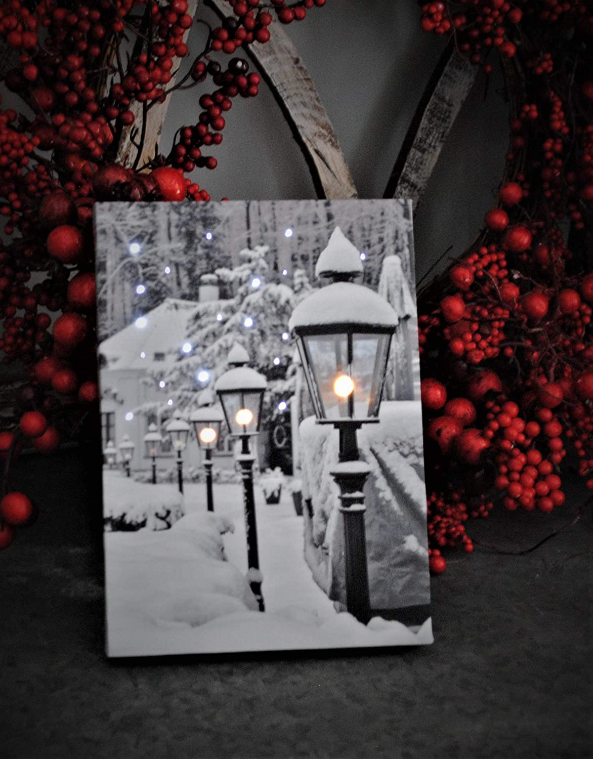 The White Azalea Tabletop Lighted Picture Winter Scene with Lamp Posts Canvas Print Stretched Over Wood Frame with Built in Stand and Timmer Function LED Lights