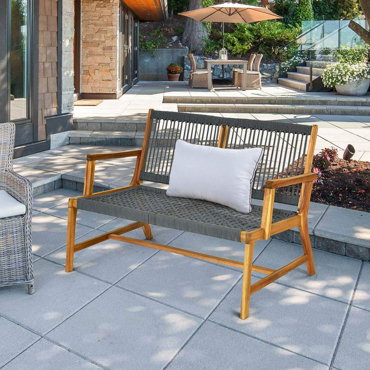 Tangkula 2-Person Patio Acacia Wood Bench Loveseat Chair, Outdoor Patio Bench Acacia Wood Bench in Teak Oil Finish, Patio Loveseat Rope Bench for Balcony Deck Poolside Porch Teak