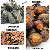 IndoHerbal Organic Reetha Amla Shikakai for Hair (Raw Form), 3X200 g