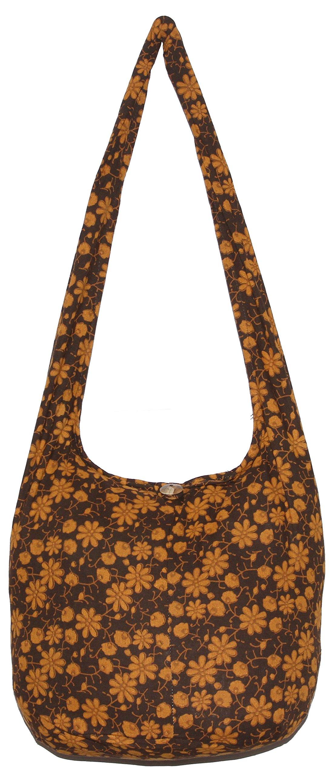 Flower Classics Bohemian Hippie Shoulder Hobo Boho Cross Body Bag (DarkBrown) by All Best Thing