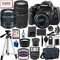 Canon EOS Rebel T6i Digital SLR Camera with EF-S 18-55mm is STM and EF 75-300mm Lens (Black) 19PC Professional Bundle Package Deal –SanDisk 64gb SD Card + Canon Shoulder Bag + More