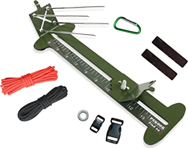 "PSKOOK Paracord Jig Bracelet Maker Paracord Tool Kit Adjustable Length Metal Weaving DIY Craft Maker Tool 4"" to 13 Solid Steel Accessories(Army Green)"