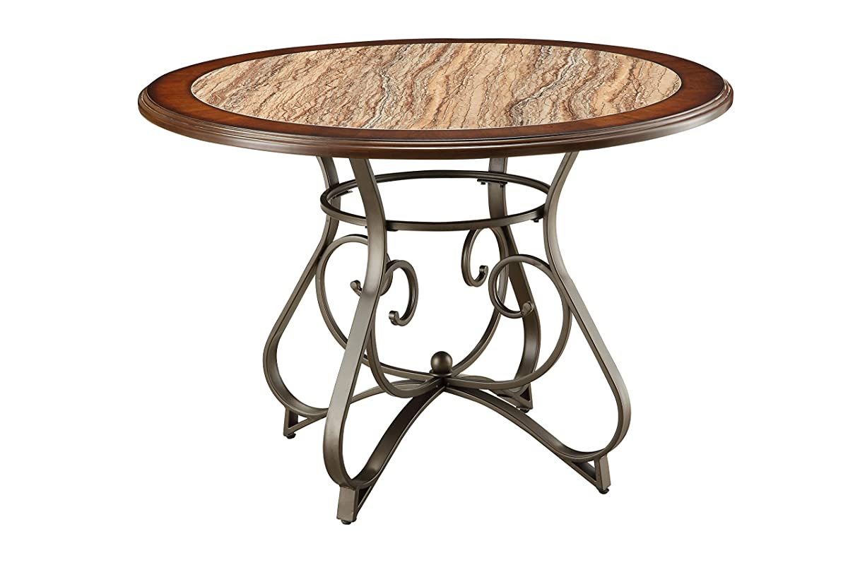 ACME Barrie Cherry Oak and Dark Bronze Dining Table with Faux Marble
