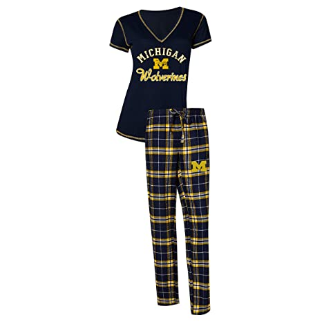 4f731a358262 Concepts Sport Womens NCAA Duo Flannel Pajamas and Top Sleep Set-Michigan  Wolverines-Small