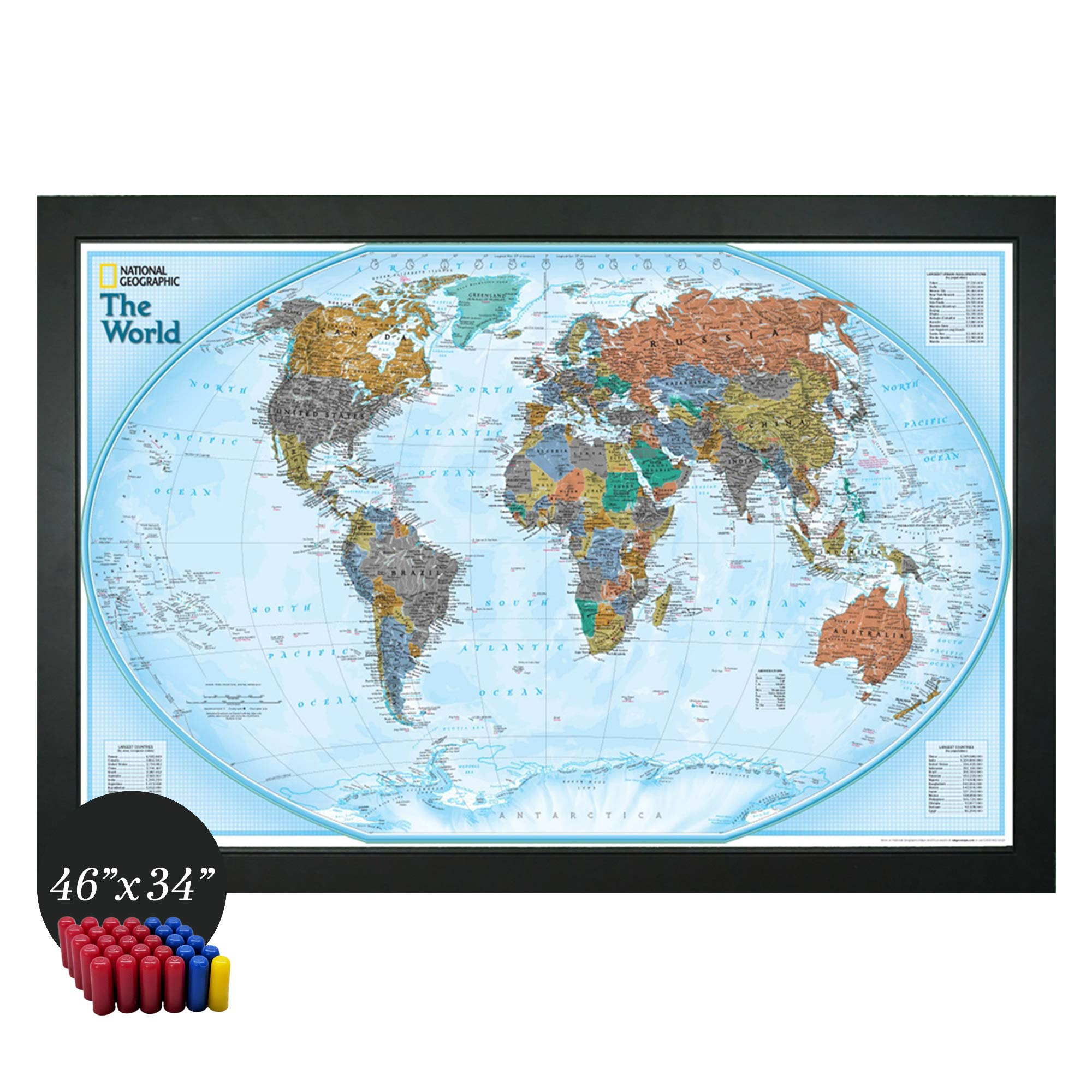 Home Magnetics National Geographic Interactive World Map Art | Framed Magnetic Geographic Map | 30 Marker Pins Included (46x34) by Homemagnetics