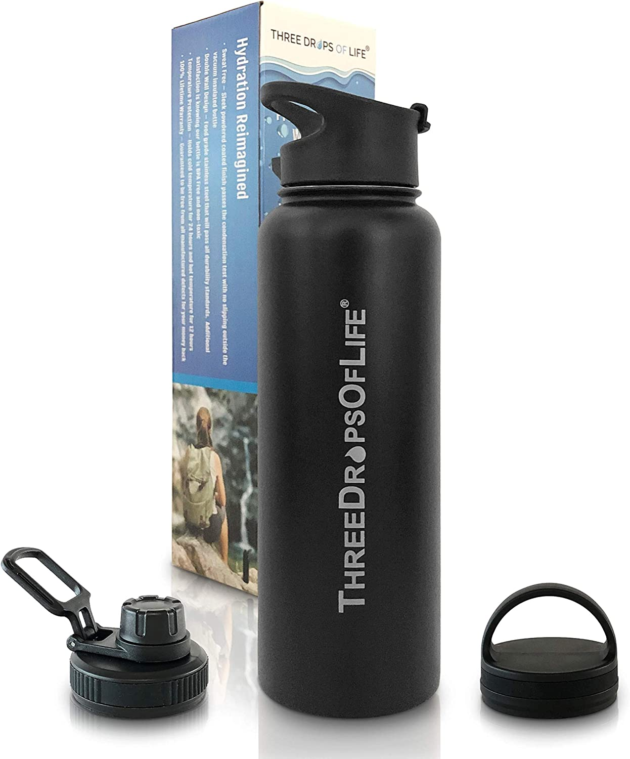 Best Vacuum Insulated 40oz, Double Wall Stainless Steel Water Bottle, Strong Bottles with Three Interchangeable Lids, Great for Hot and Cold Beverages (Black, 40oz)