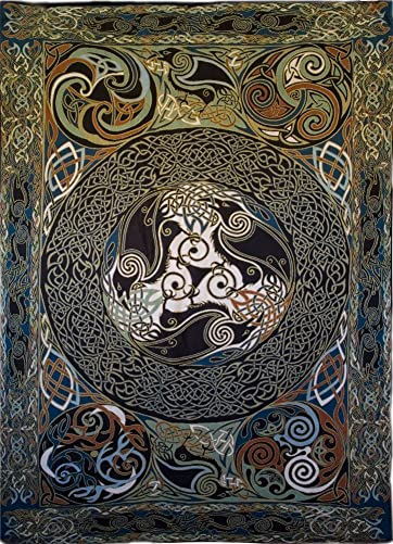 Celtic Ravens Mandala Fine Art Tapestry – Original Design by Jen Delyth