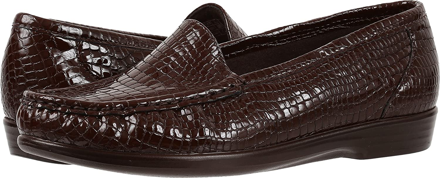 SAS Simple Women's Slip On Leather Loafer B01MG2JP2Q 11 WW - Double Wide (D) US|Brown Croc