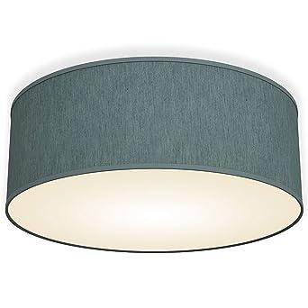 946d5e1bb465 B.K.Licht Bürodeckenleuchte Deckenleuchte petrol-grau rund Stoff  Deckenlampe (petrol-grau 2-