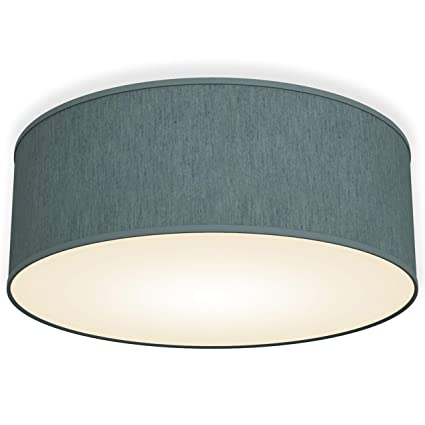 B.K.Licht Bürodeckenleuchte Deckenleuchte petrol-grau rund Stoff Deckenlampe (petrol-grau 2-flammig)