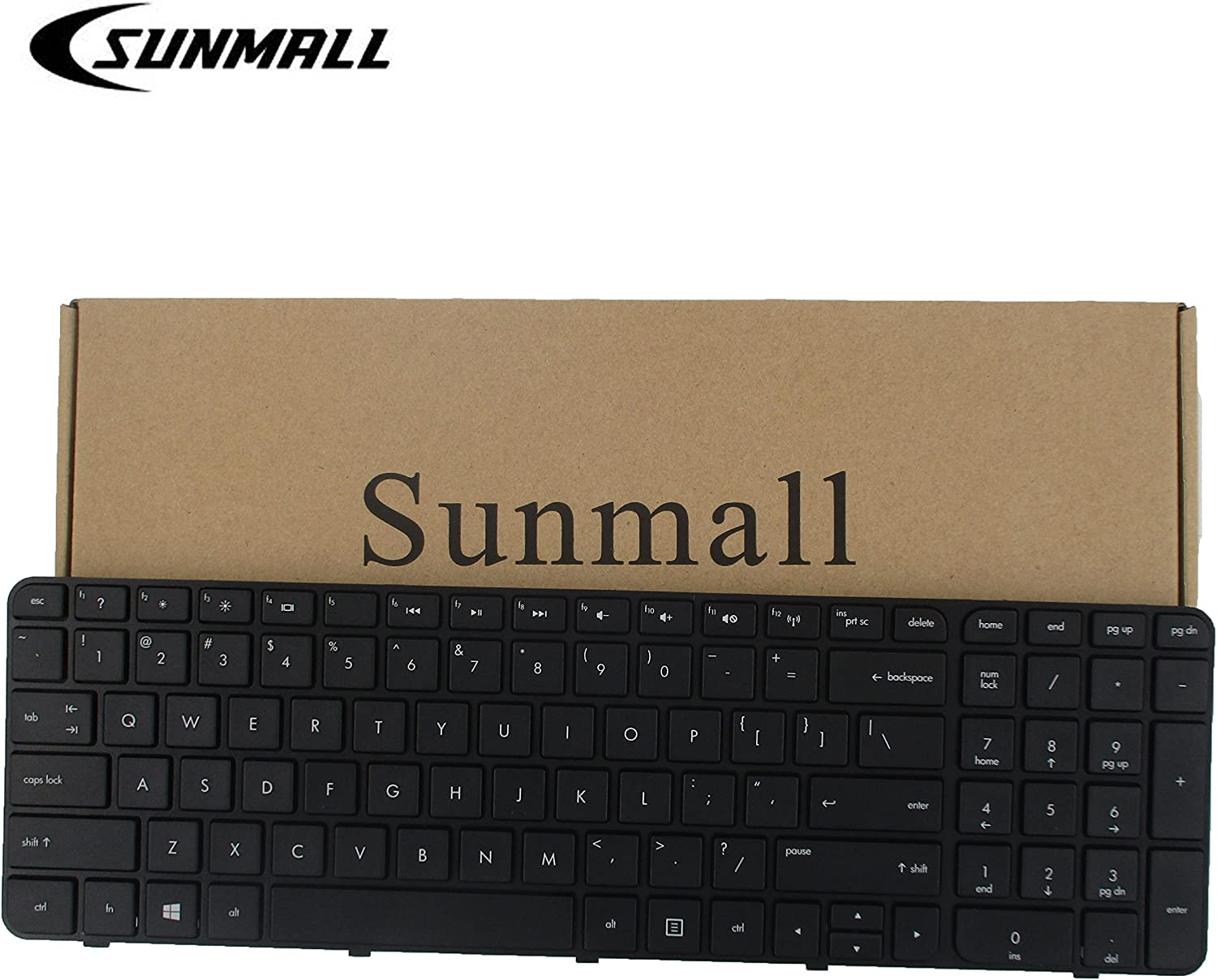 SUNMALL Replacement Keyboard with Frame for HP Pavilion G7-2000 G7-2100 G7-2200 G7-2300 G7Z-2000 G7Z-2100 G7Z-2200 G7Z-2300 G7Z-2400 (CTO) R39 Serise Black US Layout
