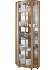 Fully Assembled HOME Corner Glass Door Display Cabinet Beech with 4 Moveable Glass Shelves & Spotlight