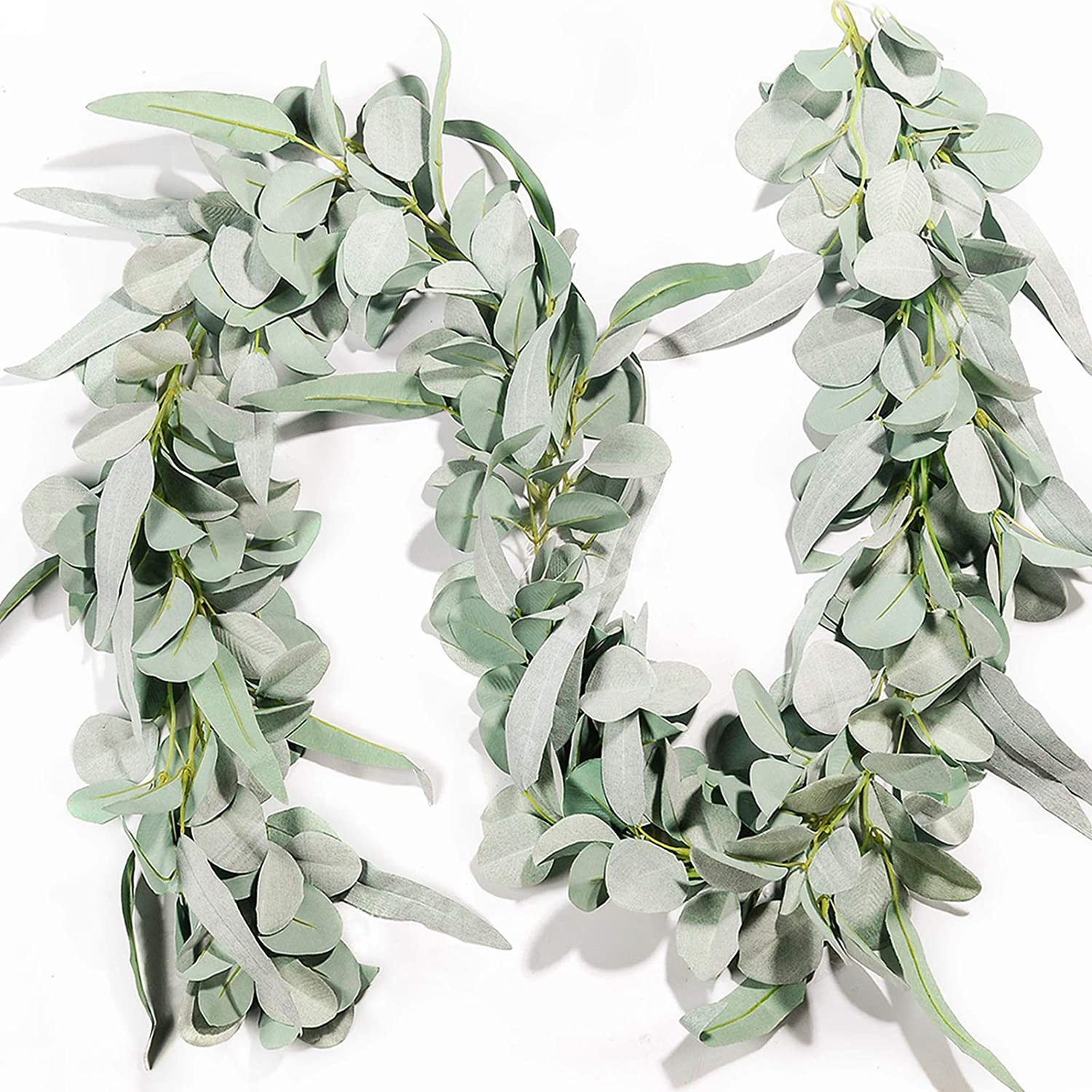 Miracliy Eucalyptus Garland, 6.2ft Artificial Lambs Ear Greenery Vine with Willow Leaves for Wedding Backdrop Table Runner Mantel Party Home Decor