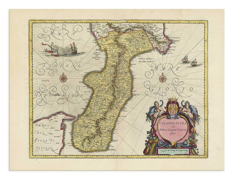 the Blaeu Prints | Messina, Calabria - Mappa storica Stampa da Atlas Antico di Joan Blaeu - Mostra Mappa Antica: Catania, Messina, Reggio di Calabria